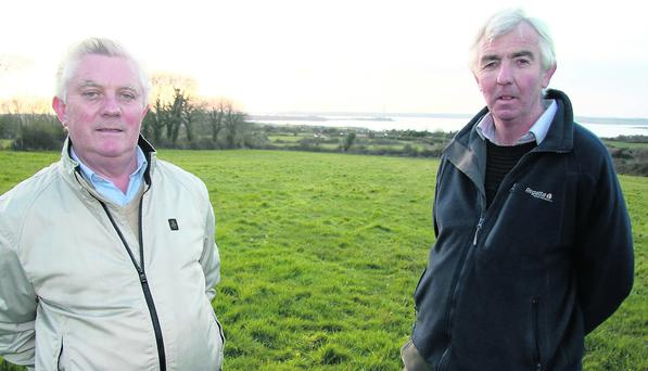 Glin Coursing Club members Joe Wallace (left) and John Barrett at their newly purchased club grounds at Ballinagoul. Photo by John Reidy