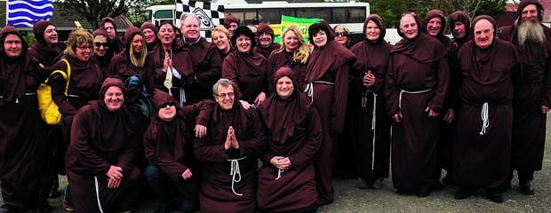 Monks from Listowel at the Ardfert National School Monks Day world record attempt on Saturday.