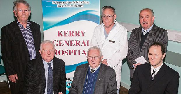 Launching the Friends of Kerry General Hospital Fundraising Gala Race Night at the Kingdom Greyhound Stadium were, in front, Frank Hayes, Kerry Group, Liam Brassil (Friends of KGH) and TJ O'Connor, Hospital manager. At back; PJ Hayes (Friends of KGH), Tom McCormack (Surgeonat Kerry General Hospital) and Tom O'Connor (Chairman Friends of KGH ).