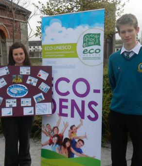 Mercy Mounthawk students Niall Buckley and Kelly Brosnan whose Eco Unesco project dealt with Wave Energy.