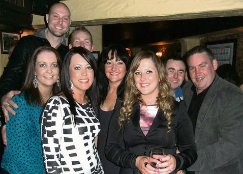 Fabulous birthday girl Catherine Stack (third from right), celebrating her 30th with family and friends in Sean Og's on Saturday night.