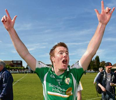 Former St Mary's, Cahersiveen, player Stephen Curran celebrates London's 1-12 to 0-14 win over Sligo in the Connacht GAA senior football championship quarter-final at Emerald Park, Ruislip, London, on Sunday.