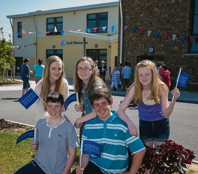 Sean McElligott, Barry Lyons, Roisin O'Connell, Julie O'Grady and Ciara Curran, at the Offical opening of the new O'Brennan National School, Kielduff on Friday.