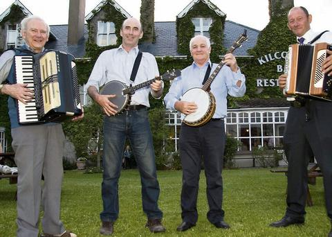 Members of the Ballyegan Ramblers group, from left: Richard Casey, Pat O'Donnell, Seamus Kelly and Donie Finucane pictured at the 2013 Fleadh Cheoil Chiarraí launch at Kilcooly's Bar and Restaurant in Ballybunion on Friday night. Photo: John Reidy