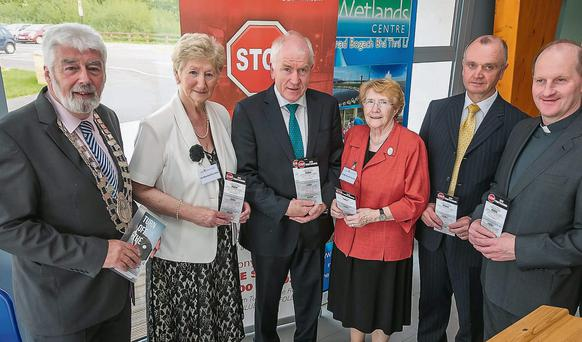 Mayor of Tralee, Johnnie Wall, Cllr Mairead Fernane, Minister for Arts, Heritage and the Gaeltacht, Jimmy Deenihan TD, Sr. Katherine Tierney, Superintendent Pat O'Sullivan and Fr. Padraig Walsh, launch the Kerry Stop Sex Trafficking campaigh. Photo: Paul Tearle
