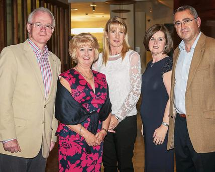 Martin Hoban, Margaret Healy, Ruth Hoban, Anne Marie Phillip and George Phillip at the Rotary Club Dinner in the Carlton Hotel on Friday.