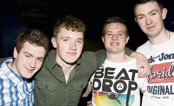 Liam O Suilleabháin (left) and Darren Roche, Newcastle West; Andrew Nihill, Listowel and Michael Walsh, Glin enjoying the Fleadh Cheoil Chiarraí experience in Ballybunion on Friday night. Photo by John Reidy