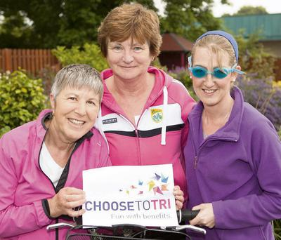 Phil Godsell, Eileen O'Shea and manager of Recovery Haven, Siobhán O'Brien promoting the Choose To Tri event taking place this Saturday in Tralee.