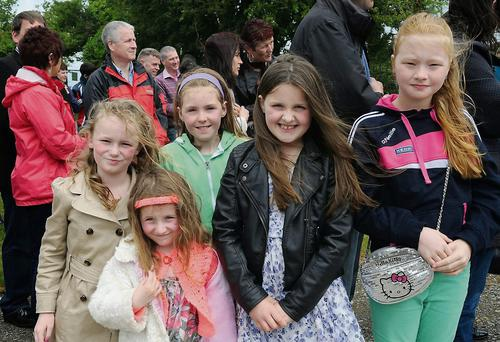 Some of the pupils at the astro turf pitch opening at Holy Family National School, Rathmore on Sunday. Photo by Michelle Cooper Galvin.