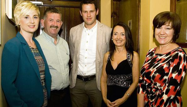 Aoife (left) and her dad, Padraig Brosnan, Killarney pictured with guest, Kerry footballer, Eoin Brosnan, Marie O'Sullivan, host and Joan Holland, East Kerry Roots Festival at the Brosnan Clan Gathering. Photo: John Reidy