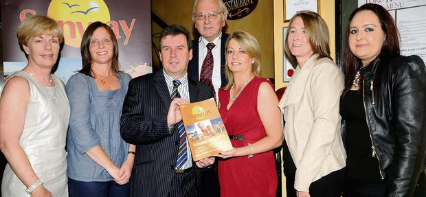Basil Sheerin, Financial Controller Kerry Airport (third from left), with Hilda Mahon of Sunway, Siobhan O'Donoghue, Torc Travel, Killarney, Jim Twomey, Torc Travel, Killarney, Mary Denton of Sunway, Mariam O'Connor and Caroline Roche, Torc Travel, Killarney. Photo:Michelle Cooper Galvin