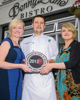 Denny Lane Bistro Recommended by Taste of Ireland 2013 pictured Julianne Reen, Proprietor, with Mariusz Jawor and Emily Reen. Photo: Paul Tearle