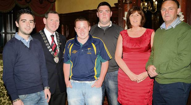 Kieran Looney, Cllr Paddy Courtney Mayor of Killarney, Conor McCarthy, Darragh O'Keeffe with Mary and John Murphy at the Deerpark Pitch and Putt Club 40th celebrations in the Killarney Avenue, Killarney on Friday. Photo: Michelle Cooper Galvin