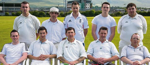 Members of the North Kerry Cricket Club (included are) Mathew Pickett, Matt Baron, Danny Warwick, Michael Pickett, Dylan O'Leary, Richard Rutland, Paul Wyre, Paul Finch, Garry Pickett (captain), and Ross Warwick, who played Valentia Island in a 20/20 match at Tralee Complex on Friday.