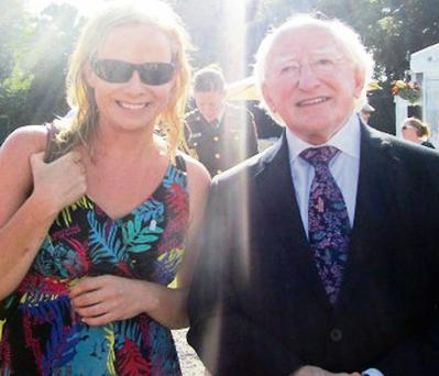 Castleisland artist and sculptor, Kate Shanahan pictured with President Michael D Higgins after she made the presentation to him at Árás an Uachtaráin last week.