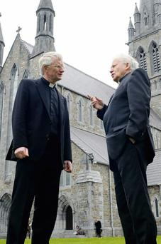 Bishop-elect Raymond A Browne with Bishop Bill Murphy at St Mary's Cathedral, Killarney, in early May after it was revealed that Westmeath native Fr Browne would replace the retiring Bishop Murphy