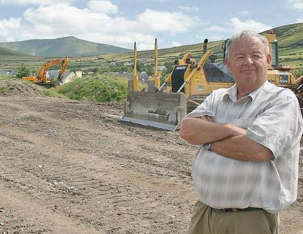 PCD Príomhoide Pádraig Firteár at the site of the construction of a new playing pitch and running track. Photo by Marian O'Flaherty