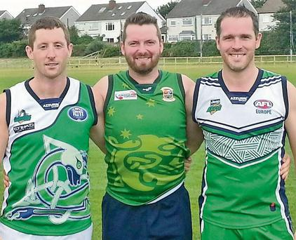 Kerrymen James Flavin, Vincent Manning and John Enright who will line-out with the Irish Warriors in the AFL/AFLI European Championships in Dublin this week. Photo by Marian O'Flaherty