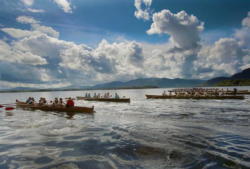 Muckross Rowing Club, Killarney beat the worlds most coveted rivals Oxford and Cambridge Boat Clubs, in a challenge race for the 'Lakes of Killarney Salters Cup' racing on the Lakes of Killarney