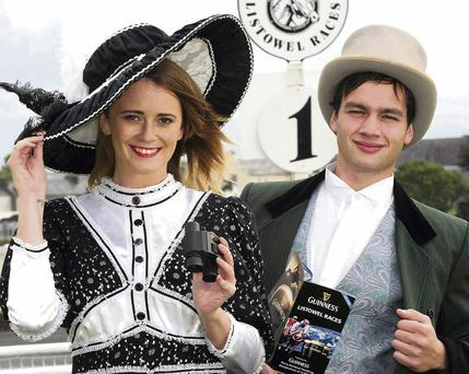 Aisling O Sullivan and Dean James in vintage racing attire as Listowel Races announced details of the September Harvest Racing Festival.