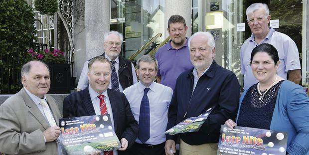 Front (from left): Sean Prendergast, Kerry Cancer Support Group/Kerry Cork Health Link Bus; Killarney Rotary President Paul Sherry; Martin Lucey, Killarney Rotary, and Jay Galvin, Kerry Cancer Support Group/Kerry Cork Health Link Bus, and Shirley Murphy, Deerpark Pitch & Putt Club. At back (from left): Edward Schmidt, Tom Leslie and James Tarrant, all of Killarney Rotary Club.