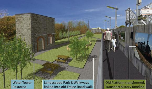 A Killarney Printing Works generated artist's impression of the proposed development of the park area beside the railway in Farranfore.