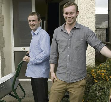 Liam Hewson and Austin Hilliard, Listowel Community Link Workers preparing the Feale Drive Community House for opening day on September 16th. Photo by Ann McNamee