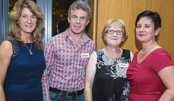 Bernie O'Mahony, Edward O'Mahony, Joan Moran (O'Sullivan), and Martha Casey enjoying the Banna NS reunion at the Ballyroe Heights Hotel on Friday night.