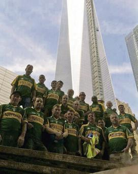 Kerry men at the foot of the Freedom Tower in downtown Manhattan, New York.