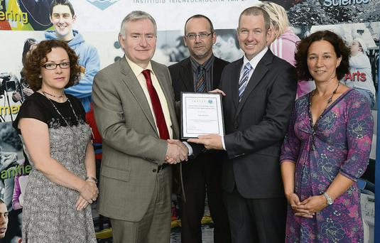 President IT Tralee Dr Oliver Murphy (second from left) presents the ITT President's Civic Spirit Award to Peter Bounds (second from right). Also included is Aileen Kennedy, IT Tralee, Dr Michael Hall and Edel Randles. Photo by Domnick Walsh