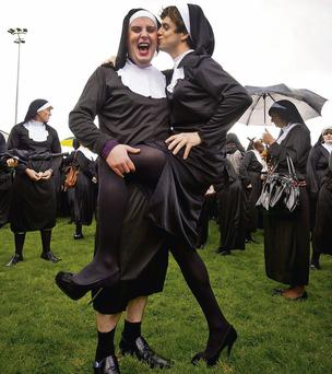 Peter Sugrue and Stephen Clarke get into the spirit of Nunday in Listowel last year.