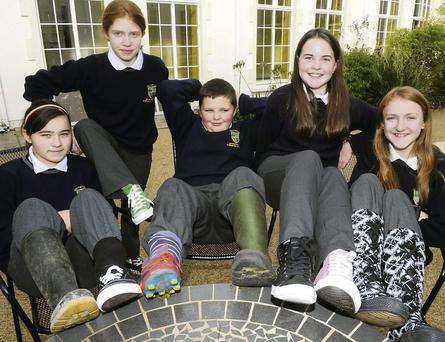 Launching the Funky Shoes Day were Katie McCarthy, Bridie Lynch, Sean Foley, Amber Doran and Jacqueline Twomey which will be held at Pobalscoil Inbhearr Sceine, Kenmare.