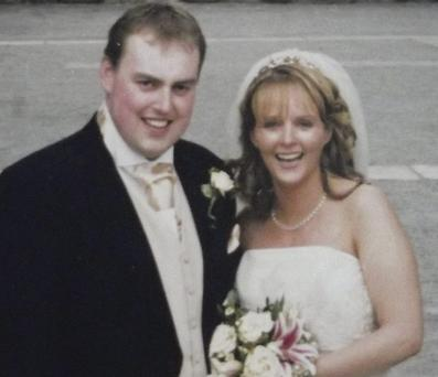 Shane O'Connell with wife Tricia on their wedding day.