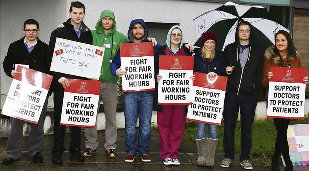 Junior doctors on the picket line at Kerry General Hospital last Tuesday.