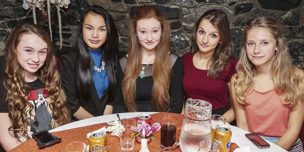 Kasey O'Connor, Caherslee, Tralee, celebrates her 14th birthday with friends Isobel Carnegie, Tamila Khussainova, Matea Bagdanovie and Adelina Nikolajeva at Ristorante Uno.