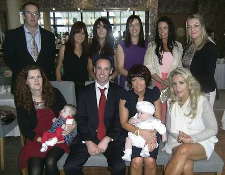 Little Nathan Jack Walsh with his parents Jess Walsh and Jack Clifford and family friends