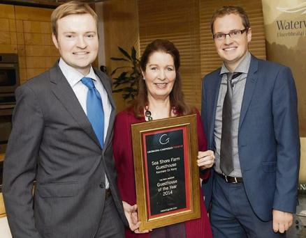 Owen and Jerry O'Sullivan with Georgina Campbell at the 2014 Awards Ceremony