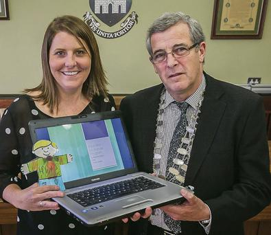 Colleen Mudore from Westlake Cuyahoga County, Ohio, on the Educator Exchange programme, meets Mayor of Tralee Pat Hussey on her visit to Tralee last week.