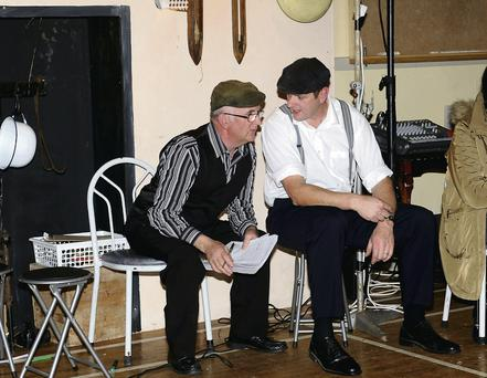 Neilie Moynihan with Fear an Tí Derry Healy at the Rambling House at Glenflesk Community Centre on Saturday.