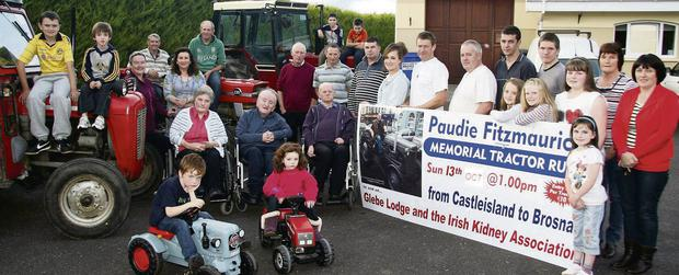 Friends of the late Paudie Fitzmaurice and representatives of Glebe Lodge Residential Facility and the Irish Kidney Association at a gathering to publicise the memorial tractor and vintage run in memory of their friend and neighbour. Included are: Evan and Alana Kelliher, DJ Fealey, Billy Conway, Nora Fealey, Mary O'Connor, Danny Kelliher, Timmy Myers, Josephine Ryan, Eamon O'Brien, Eamon Walsh, Tom Cahill, Pat Dee, Paul Knight, Meaghan and Paudie O'Connell, Jimmy, Michael and Katelyn Horan, Ava, Paudie, Laura, Mary and Sharon Fitzmaurice and Eileen Kelliher.