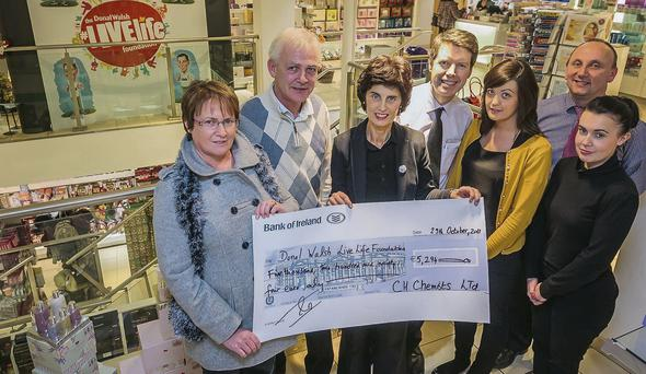 A cheque for €5,294 was presented to the Donal Walsh Livelife Foundation, the proceeds of the CH chemist fashion show. Pictured are Elma and Finnbar Walsh, Helen Parker, Peter Harty, Elaine Daly, Kevin O'Riordian and Mary Sugrue.
