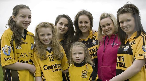 Listowel Emmets Ladies are celebrating their nomination for Club of the Year. Pictured are: U12 Sally O'Flynn, U10 Grace O'Sullivan, U8 Caitlin Shine, Senior Rebecca Stapleton, U16 Sarah O'Brien, G4M+O Deborah O'Flaherty and U14 Saoirse Kennedy. Photo by Ann McNamee