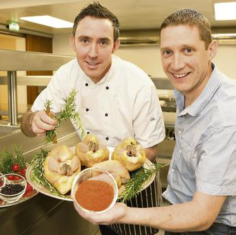 At the announcement of the 'A Festive Feast' Cooking Demonstration Evening at the Listowel Food Fair were Simon Regan, the Head Chef at the Panorama Restaurant in the five star Europe Hotel & Resort, Killarney and Dan Browne, Listowel Food Fair.