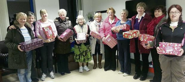 Members of the Listowel and District Women's Group, who this week filled over 40 boxes in aid of the annual Christmas Shoebox Appeal.
