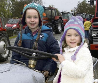 Dylan and Megan Herlihy, Scartaglin, at the tractor run in Castleisland