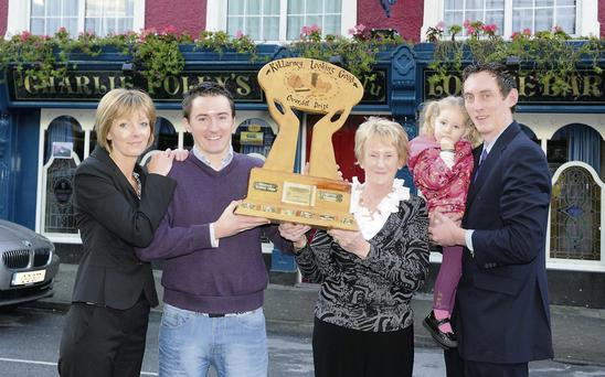Members of the Foley family Grace Ahern, James and Eileen Foley, Kate Ahern and Cormac Foley outside their Charlie Foley's Pub, New Street, Killarney which was awarded the Overall Prize in the Killarney Looking Good competition in the School House, Muckross Traditional Farms, Killarney on Monday.