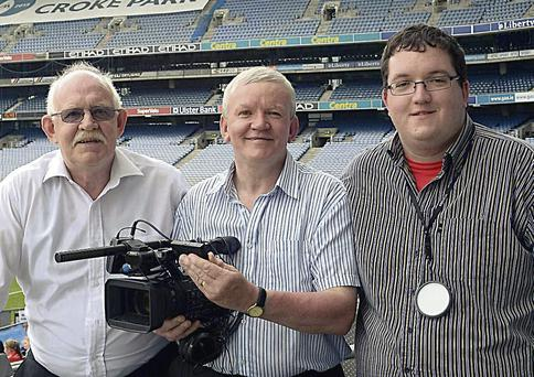 John O'Sullivan with Christy and Anthony O'Riordan who are behind Sunday's live broadcast of the South Kerry Championship final.