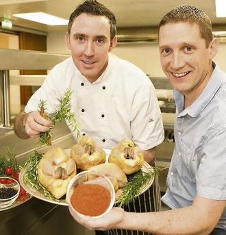 Chef Simon Regan (left) with Dan Browne of Listowel Food Fair. Photo: Pat Tobin