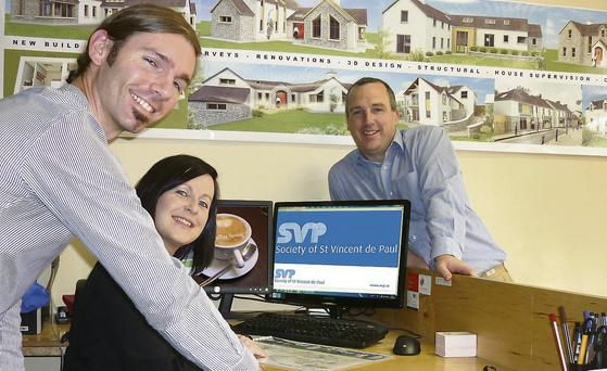 Kevin Kenneally, Billy Horgan and Eileen Lane of Kenneally Murphy Architecture and Engineering, Abbeyfeale, who will host a coffee morning in aid of the St Vincent De Paul.