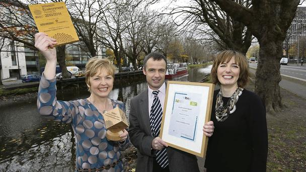 (l-r) Brona Tennyson and Louis Collins, both from Astellas Ireland and Anne Murphy, Green Business Executive, Ibec.